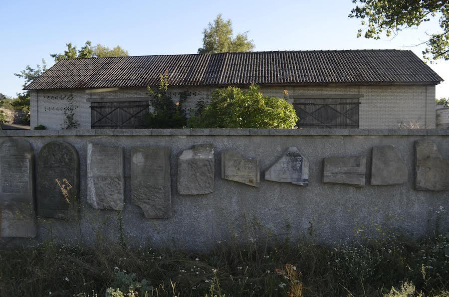 Fragment lapidarium na cmentarzu żydowskim w Gniewoszowie /fot. CHIDUSZ 2018