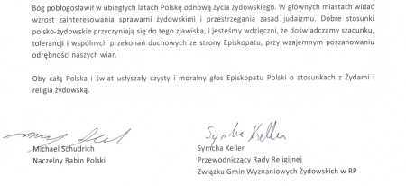 Odpowiedź polskich rabinów na list biskupów.