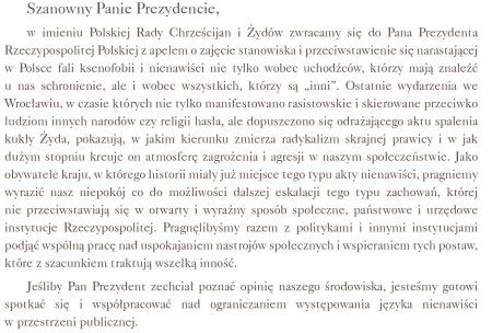 Treść listu Polskiej Rady Chrześcijan i Żydów do Prezydenta RP Andrzeja Dudy po spaleniu kukły Żyda na wrocławskim Rynku