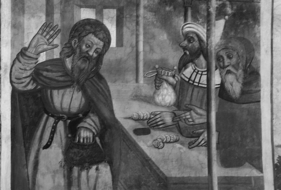 Judasz. Fragment fresków z XVI wieku z kościoła Saint Sébastien w Plampinet we Francji