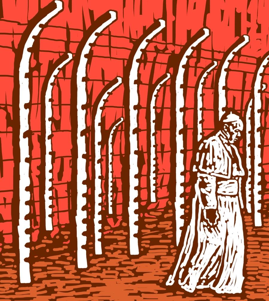 """Papież Franciszek w Auschwitz. Okładka """"Chiduszu"""" 7 (29) / 2016. Autorka: Edyta Marciniak"""