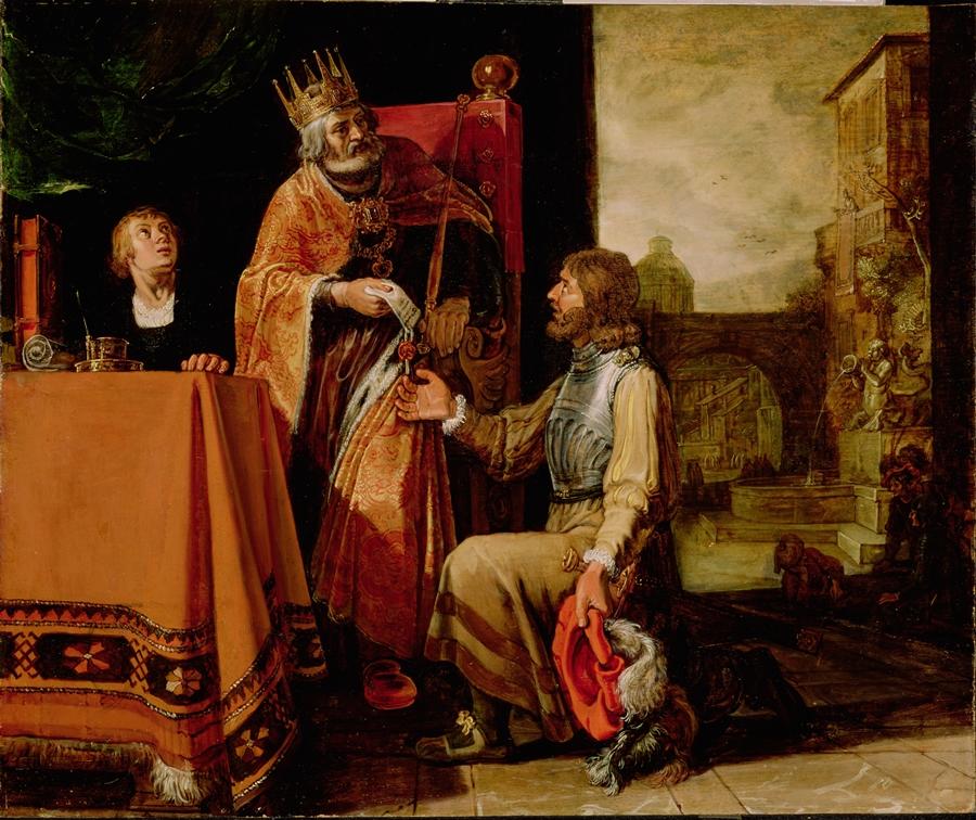 Król Dawid i Uriasz Hetyta na obrazie holenderskiego malarza Pietera Lastmana