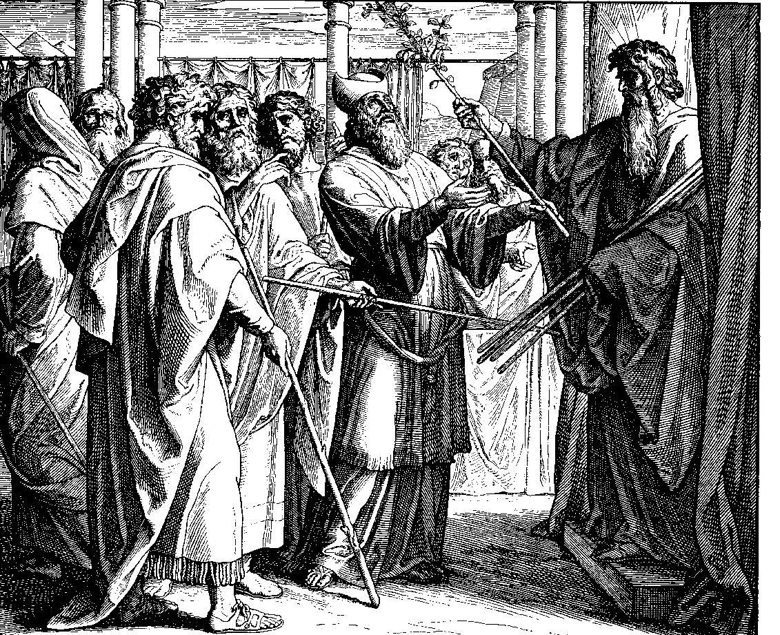 Buława należąca do Aarona wydaje pączki. Drzeworyt autorstwa Juliusa Schnorra von Carolsfelda. Fot. Wikipedia