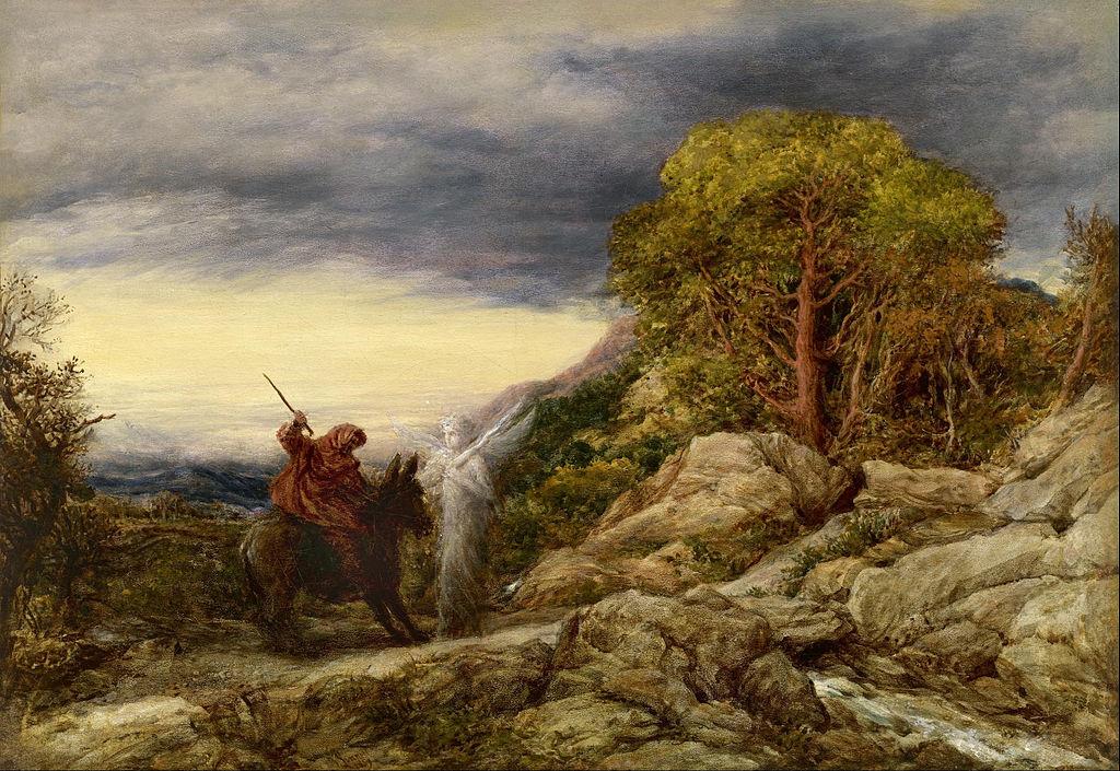 Prorok Balaam i anioł. Obraz angielskiego malarza Johna Linnella. Fot. Wikipedia