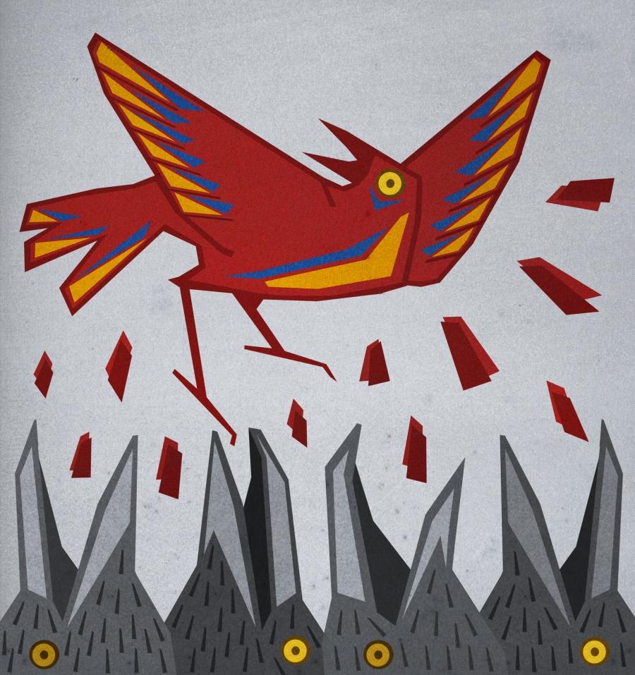 """Zadziobywany """"Malowany ptak"""" - fragment okładki autorstwa Edyty Marciniak"""