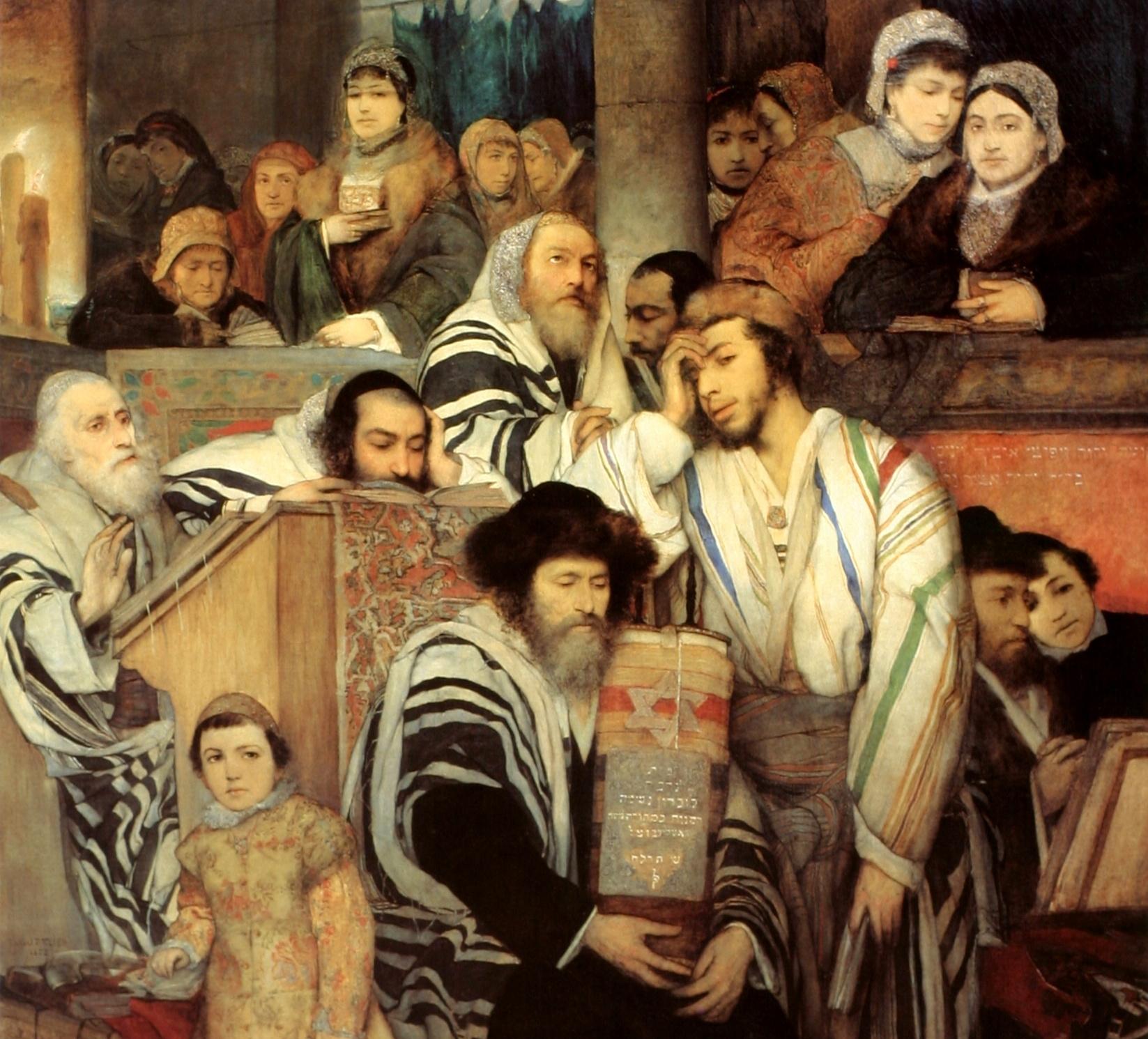 """Obraz Maurycego Gottlieba """"Żydzi modlący się w synagodze w Jom Kipur"""". Fot. Wikipedia"""