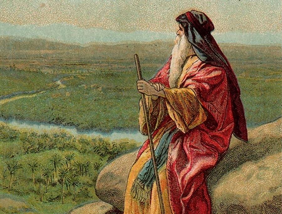 Mojżesz spogląda w kierunku Ziemi Obiecanej. Ilustracja z 1907 r. Fot. Wikipedia