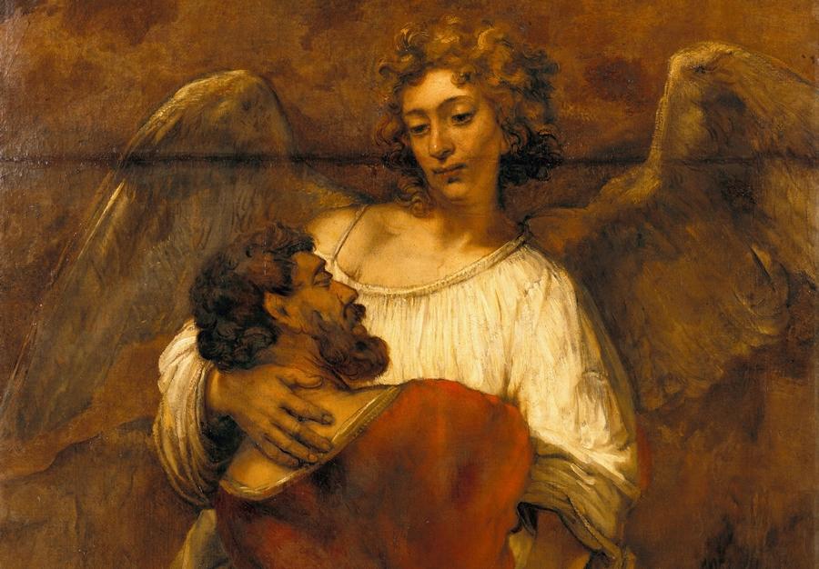 """""""Walka Jakuba z aniołem"""" - obraz Rembrandta z 1659 roku. /Fot. Wikipedia"""