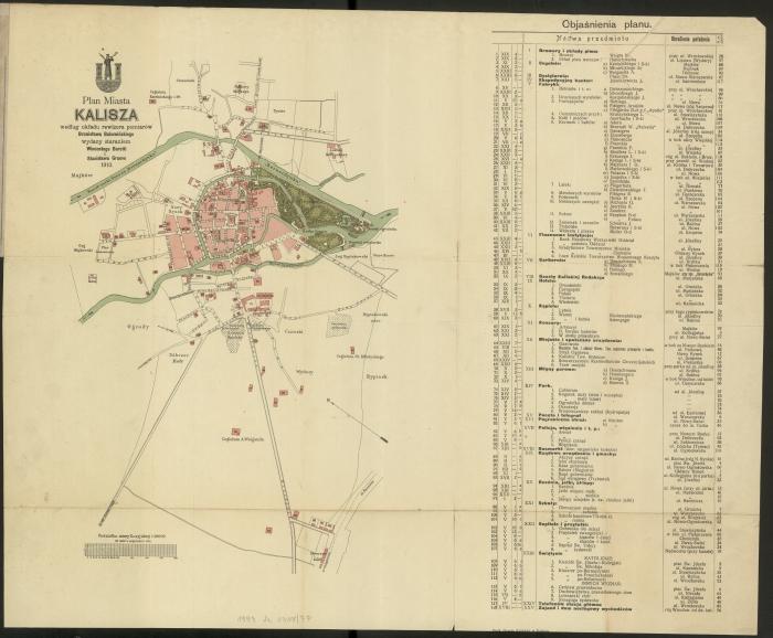 Plan Kalisza z widocznym starym cmentarzem żydowskim