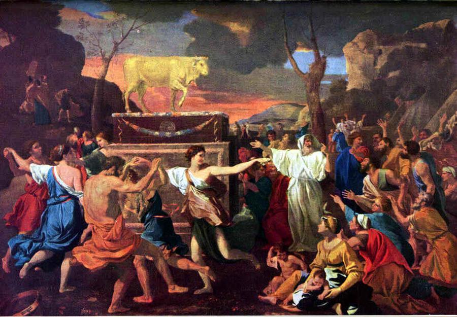 """""""Adoracja złotego cielca"""" - obraz Nicolasa Poussina (1633) /Fot. Wikipedia"""