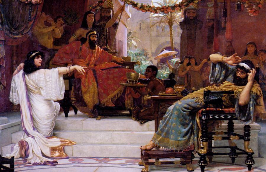 Ester wyjawia swoją tożsamość Hamanowi na obrazie (1888) Ernesta Normanda, angielskiego malarza epoki wiktoriańskiej /Fot.Wikipedia