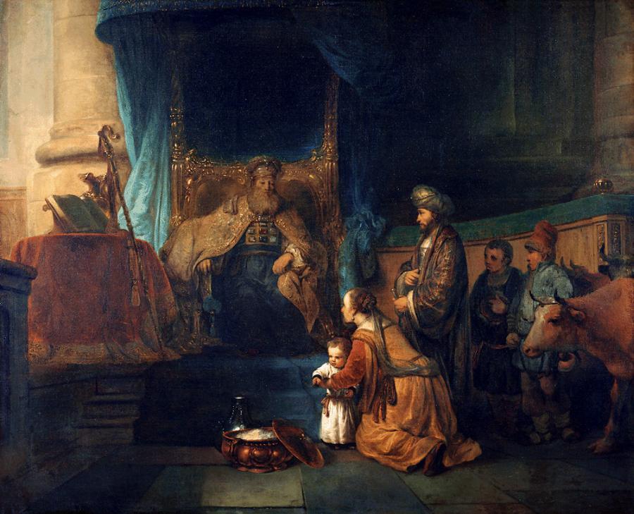 Matka Samuela ofiarowuje dziecko kapłanowi Elemu. Obraz holenderskiego malarza Gerbranda van den Eeckhouta (około 1665 r.). /Fot. Wikipedia