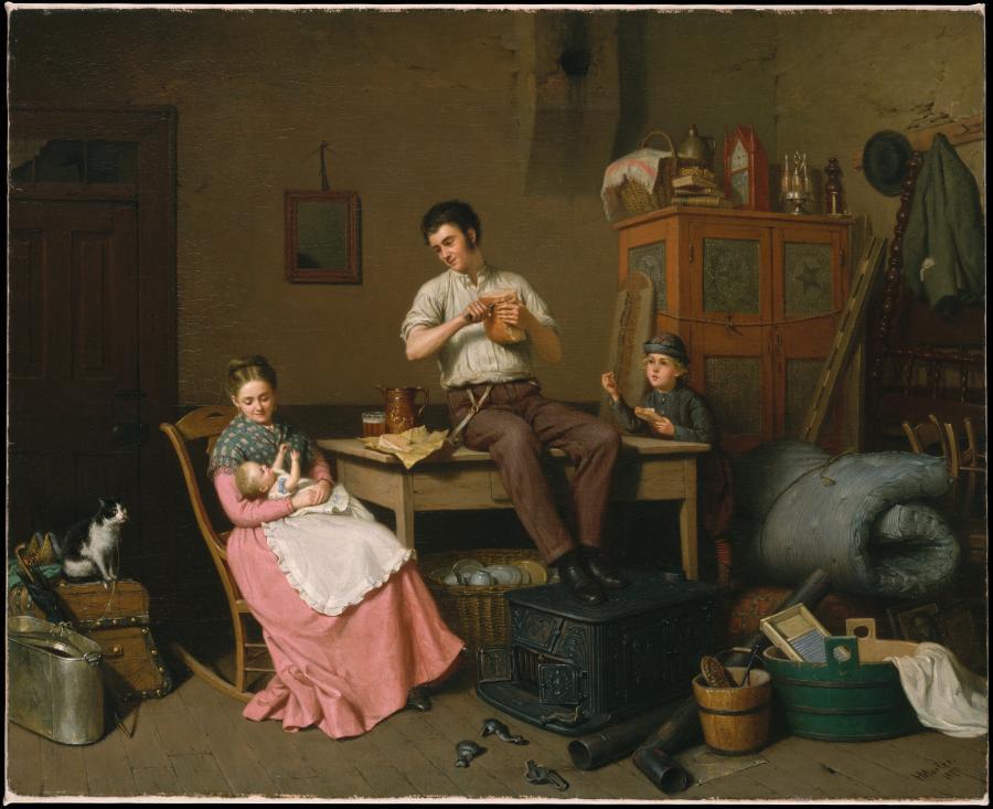 Obraz żydowskiego malarza Henry'ego Moslera (urodzonego w 1841 roku w Tropplowitz/Opławicy), ilustrujący małżeństwo tuż po przeprowadzce do nowego domu. /Fot. Arthur Hoppock Hearn Fund, 1962