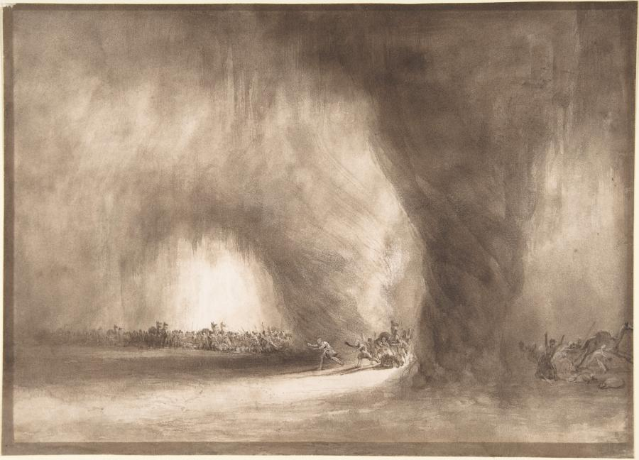 """William West """"Kolumna podróżników z Orientu rozproszona przez burzę piaskową (Izraelici idący przez pustkowie ochraniani przez Słup Obłoku)"""".  / Mary Oenslager Fund, 2007"""