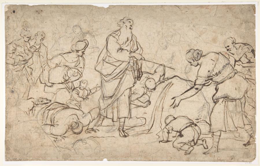 """""""Mojżesz uderza w skałę"""", rysunek Luci Giordano /fot. Metropolitan Museum of Art"""