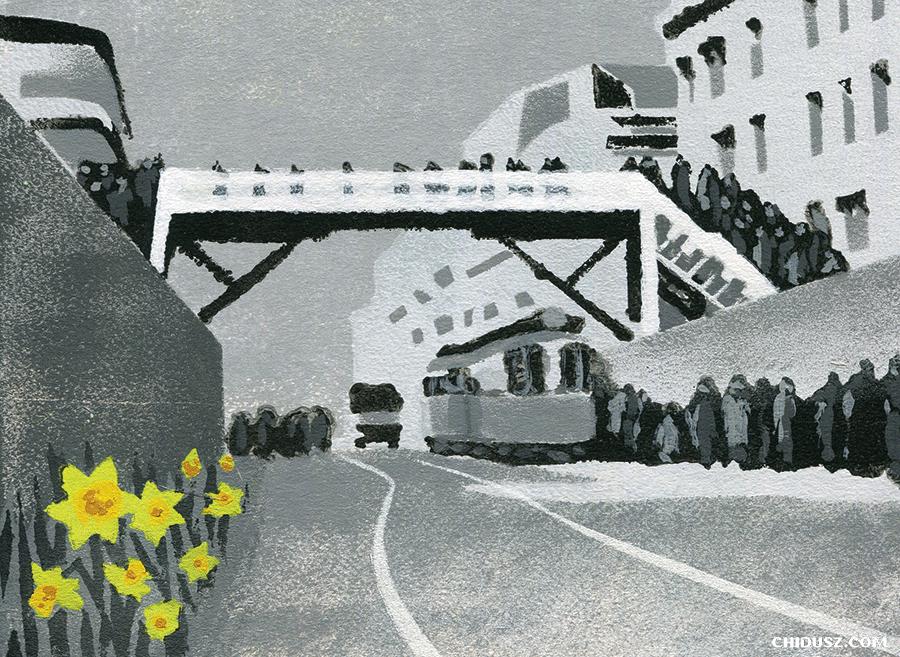 Fragment okładki przedstawiającej kładkę w getcie warszawskim /autorka: Edyta Marciniak CHIDUSZ 2018