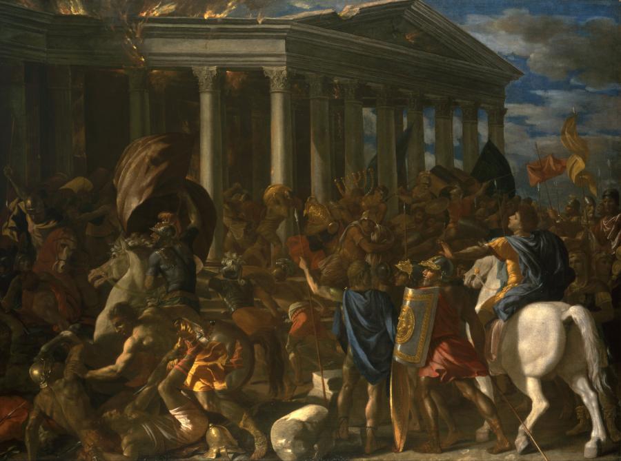 """Wspominany obraz Nicolasa Poussina, """"Zniszczenie i splądrowanie Świątyni Jerozolimskiej"""" /fot. Wikipedia"""
