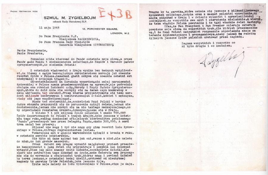 List pożegnalny Szmula Zygielbojma /fot. Wikipedia