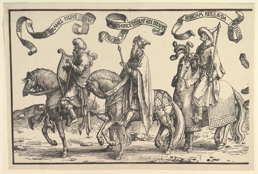 """""""Dawid, Salomon, Roboam"""" - szesnastowieczny drzeworyt Lucasa van Leydena /fot. the MET (Rogers Fund, 1920)"""