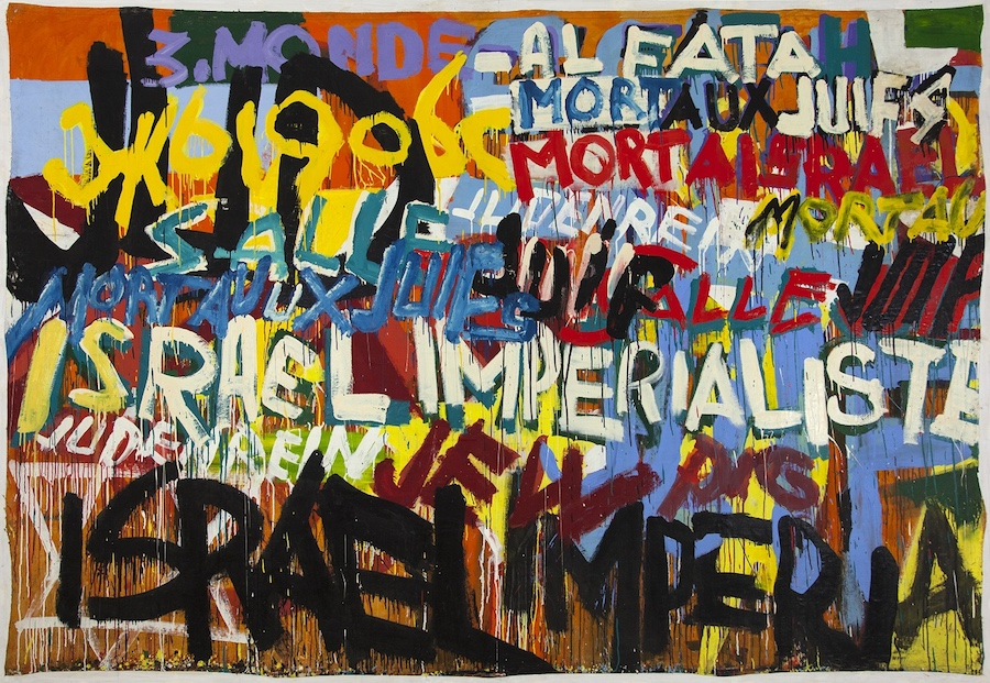 Boris Lurie Mort aux Juif! (Israel Imperialiste) , 1970. Jedna z prac prezentowanych na wystawie Pop-art po Holokauście w Muzeum Sztuki Współczesnej MOCAK w Krakowie.