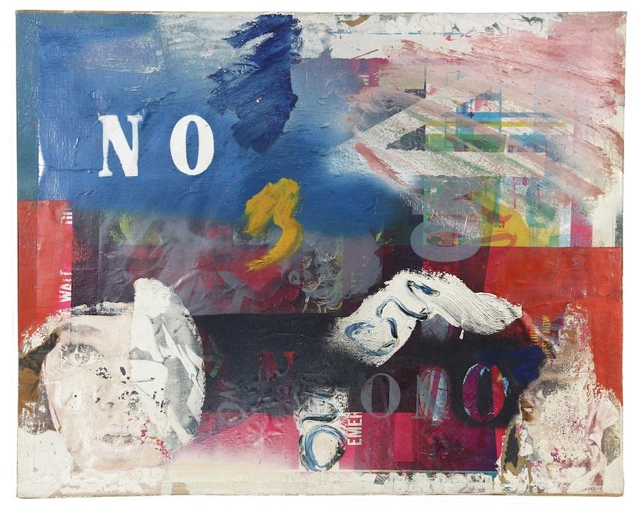 NIE z rozciętą głową, 1963, technika mieszana / płótno, 61 × 76,2 cm, courtesy Boris Lurie Art Foundation
