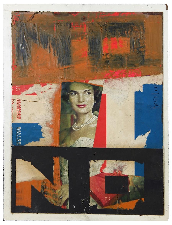NIE z panią Kennedy, 1963, kolaż / płyta, 35,6 × 27,3 cm, courtesy Boris Lurie Art Foundation