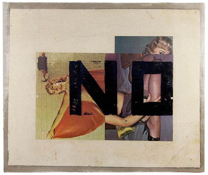 NIE na odwróconych zdjęciach pin-up girls, z cyklu Twarde zapisy, 1972, technika mieszana / płótno, 47,6 × 57,2 cm, courtesy Boris Lurie Art Foundation