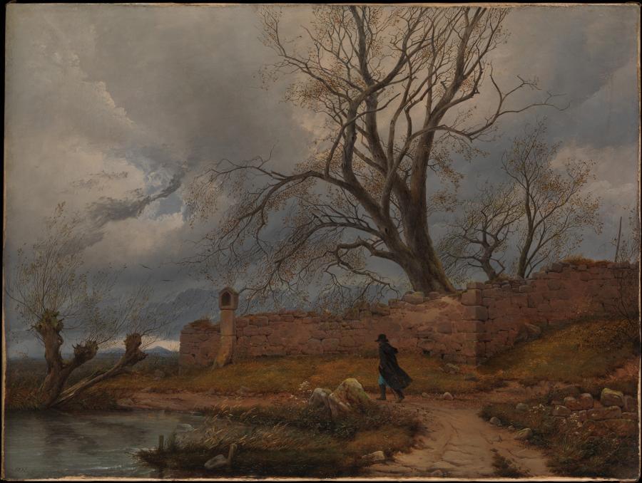 """""""Wędrowiec w burzy"""", obraz Juliusa von Leypolda z pierwszej połowy XIX wieku /fot. The Metropolitan Museum of Art"""