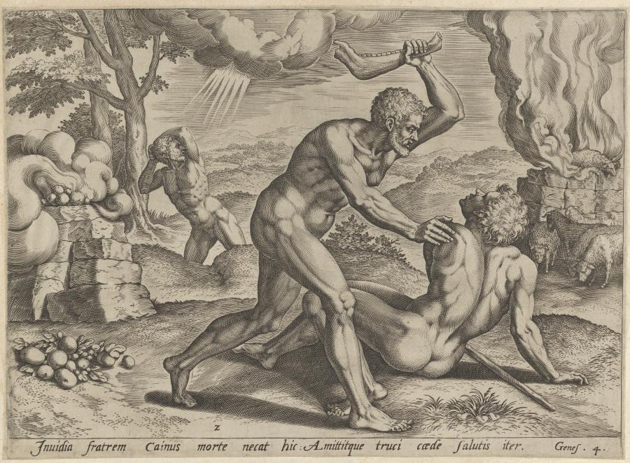 """Cornelis van Haarlem, """"Kain zabijający Abla"""", rycina z końca XVI wieku /fot. The Metropolitan Museum of Art"""