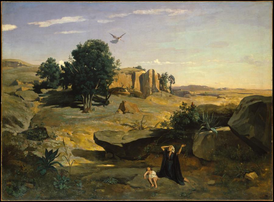 """""""Hagar w dziczy"""", obraz  Camille Corot z pierwszej połowy XIX wieku/ fot. The Metropolitan Museum of Art"""