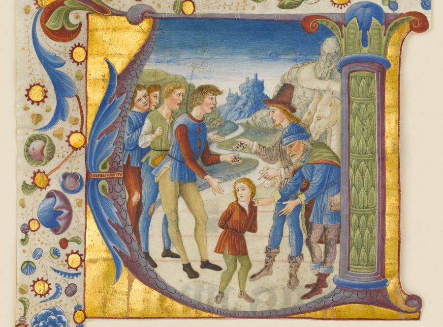"""""""Józef sprzedany przez braci"""",  Giovanni Pietro da Cemmo, ok. 1490 r. /fot. The Metropolitan Museum of Art"""