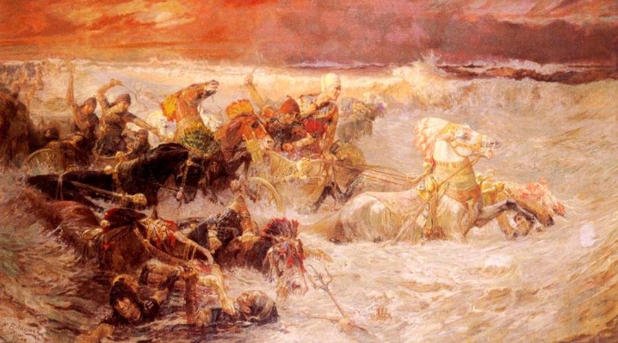 """""""Armia faraona pochłaniana przez Morze Czerwone"""", Frederick A. Bridgman/ Wikipedia"""