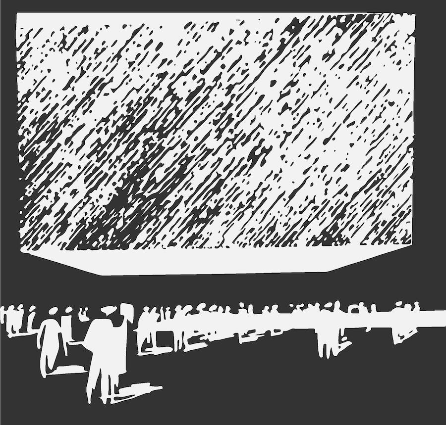 """Fragment grafiki z okładki książki prof. Jadwigi Sławińskiej """"Ekspresja sił w nowoczesnej architekturze"""""""
