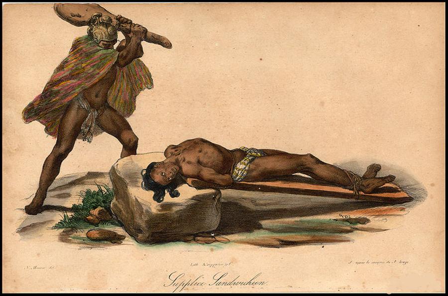 """Jacques Arago, """"Hawajczyk składa ofiarę z człowieka"""", ok. 1819/ Wikipedia"""