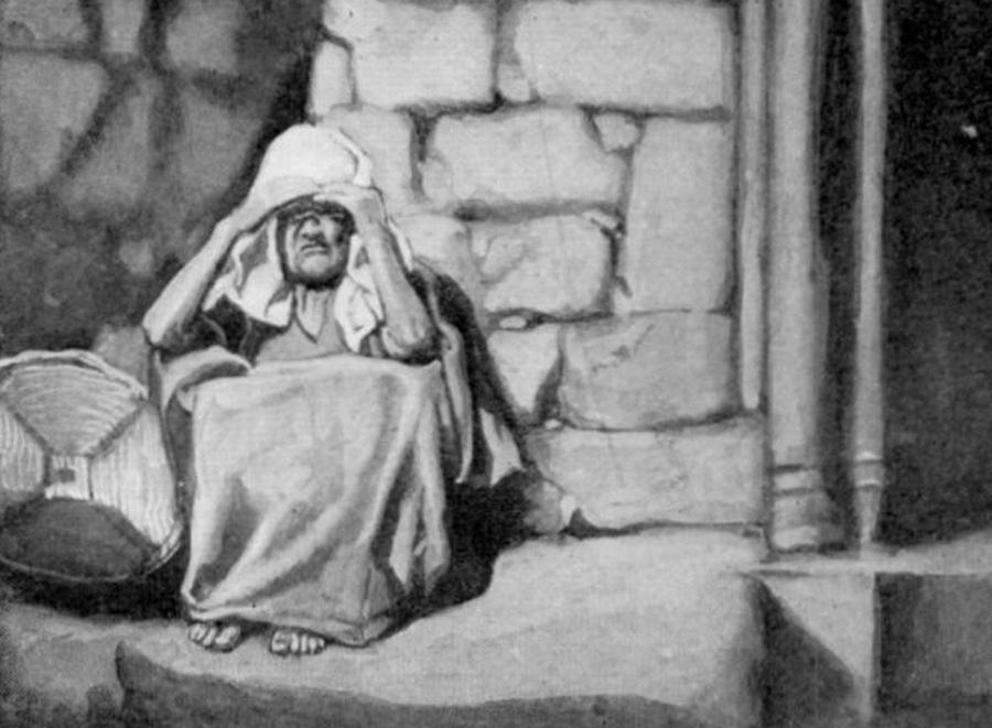 James Tissot, Miriam poza obozem dotknięta caraat (fragment)/ Wikipedia