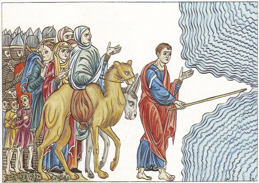 Herrada z Hogenburga, Mojżesz prowadzi Naród Izraela przez Morze Czerwone
