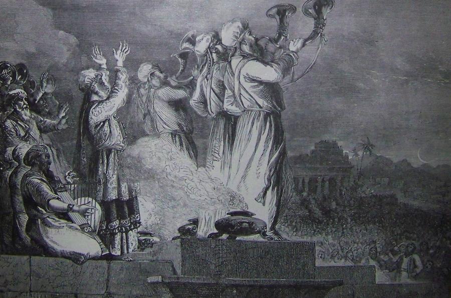 """""""Kapłani dmący w trąby"""", ilustracja z Biblii Holmana/ Wikipedia"""