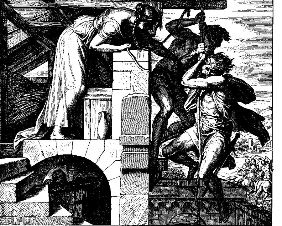 Rachab pomaga uciec szpiegom, Julius Schnorr von Karolsfeld/ Wikipedia