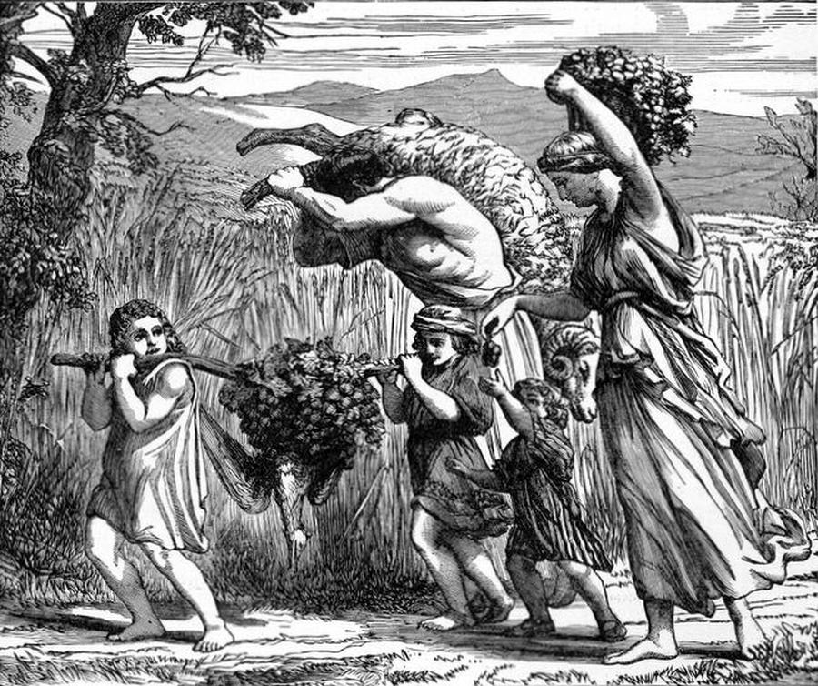 """""""Kraina płynąca mlekiem i miodem"""", ilustracja z """"Treasures of the Bible"""" Northropa/ Wikipedia"""