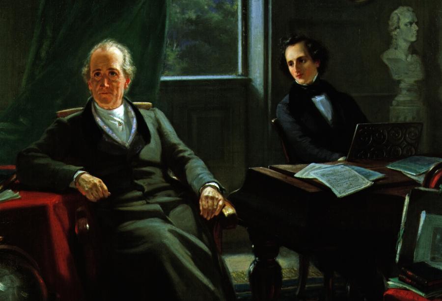 """""""Mendelssohn gra dla Goethego"""" (fragment), Moritz Oppenheim/ Wikipedia"""