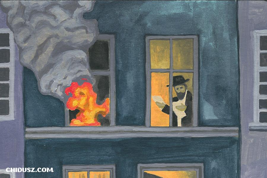 """Fragment okładki """"Chiduszu"""" 8/2019 będącej ilustracją do powieści Jankewa Dinezona """"Der szwarcer jungermanczik"""". Autorka: Edyta Marciniak"""