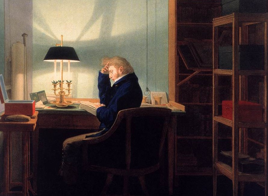 """G. F. Kersting, """"Mężczyzna czytający przy świetle lampy""""/ Web Gallery of Art"""