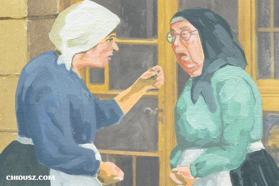 """Fragment okładki """"Chiduszu"""" 1/2020 będącej ilustracją do piątego rozdziału powieści Jankewa Dinezona """"Der szwarcer jungermanczik"""". Autorka: Edyta Marciniak"""