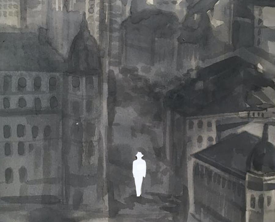 """Fragment ilustracji do powieści """"Od dwóch tysięcy lat"""" Mihaila Sebastiana. Autorka: Anna Waligórska"""